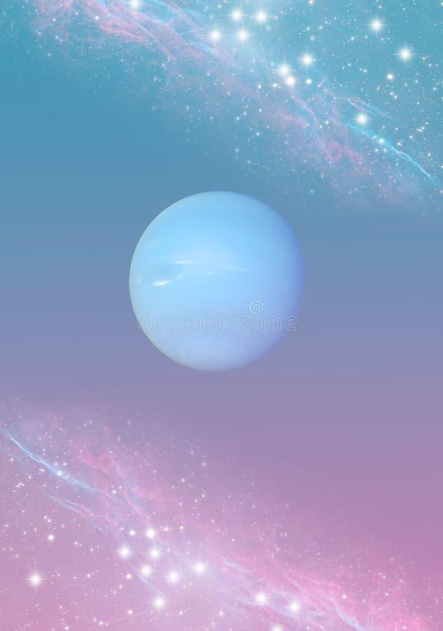 Andlig magisk esoterisk bakgrund för mystiker med planetNeptun, stjärnor i blåa rosa färger royaltyfri illustrationer
