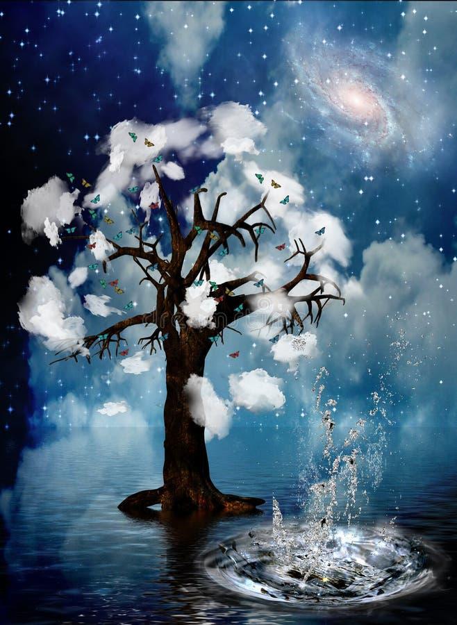 andlig tree royaltyfri illustrationer