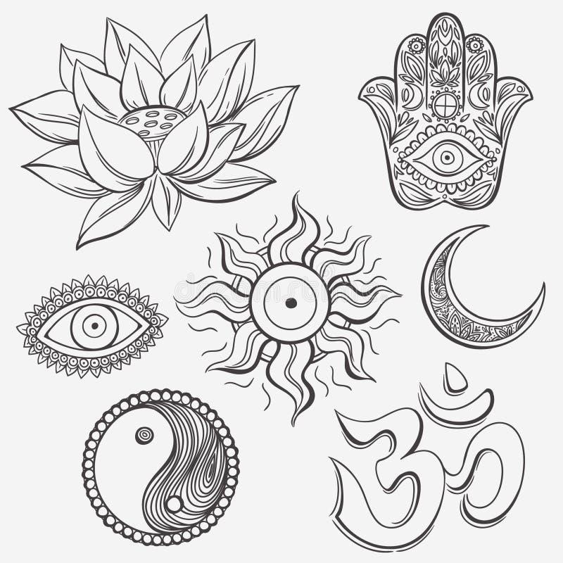 Andliga symboler royaltyfri illustrationer