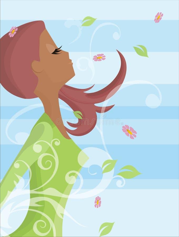 andningkvinna vektor illustrationer