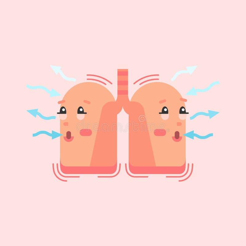 Andninglungatecken, begreppsmässig vektorillustration Inspiration för respiratoriskt system och förfallodagprocess royaltyfri illustrationer