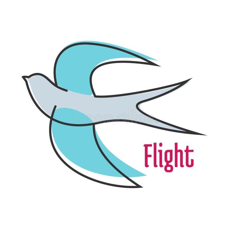 Andorinha azul de voo no estilo do esboço ilustração stock