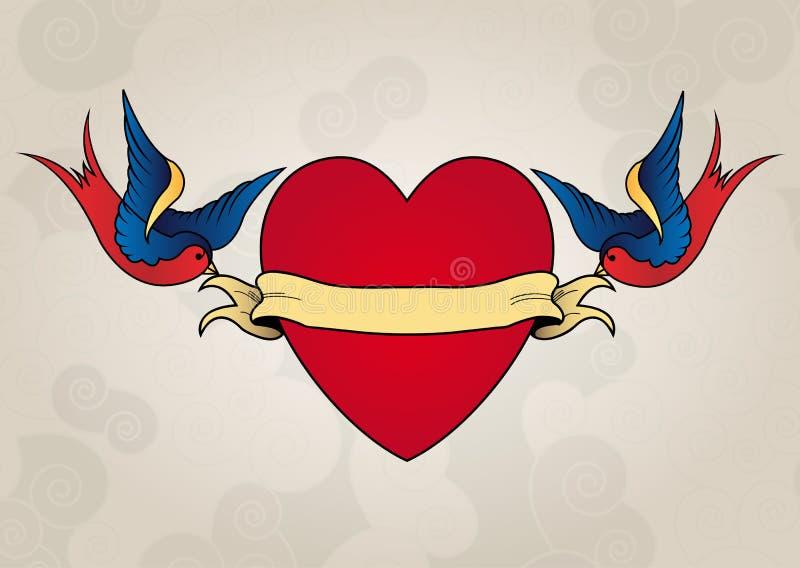 Andorinhas do estilo da tatuagem com coração, velha escola ilustração stock