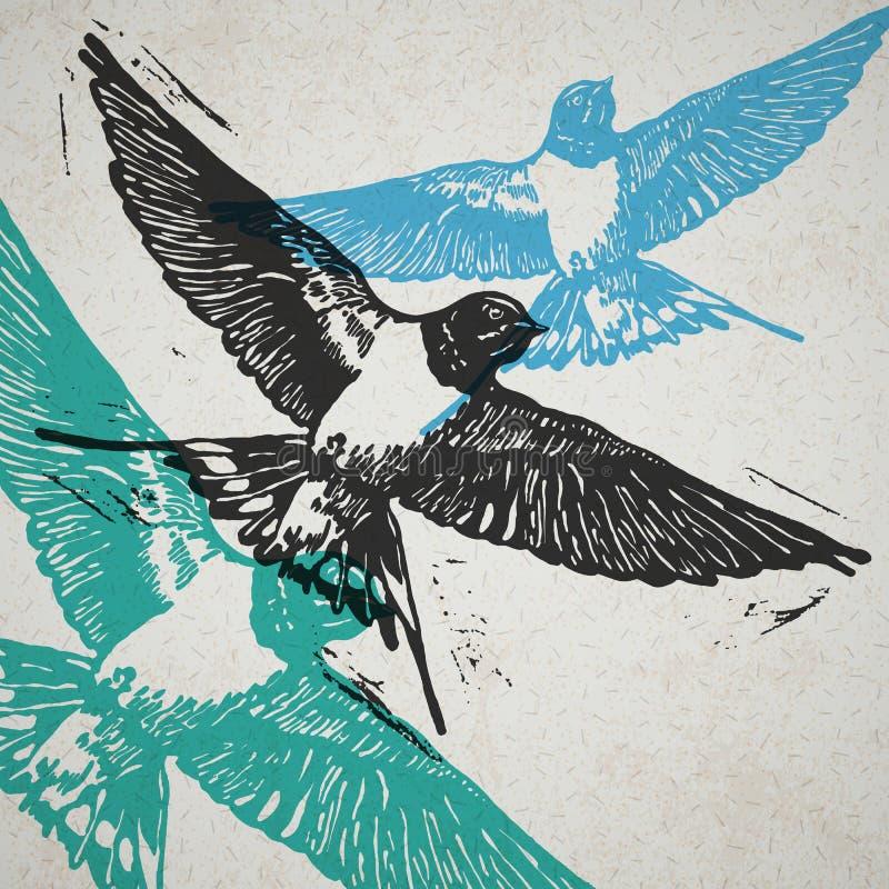 Andorinhas do vetor na composição abstrata ilustração royalty free