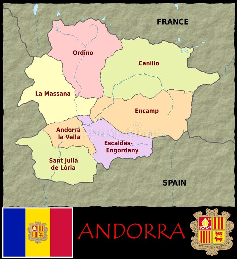 Andorra Administrative divisions stock illustration