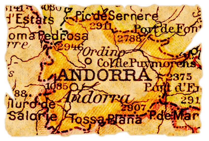 Andorra-alte Karte stockfotografie