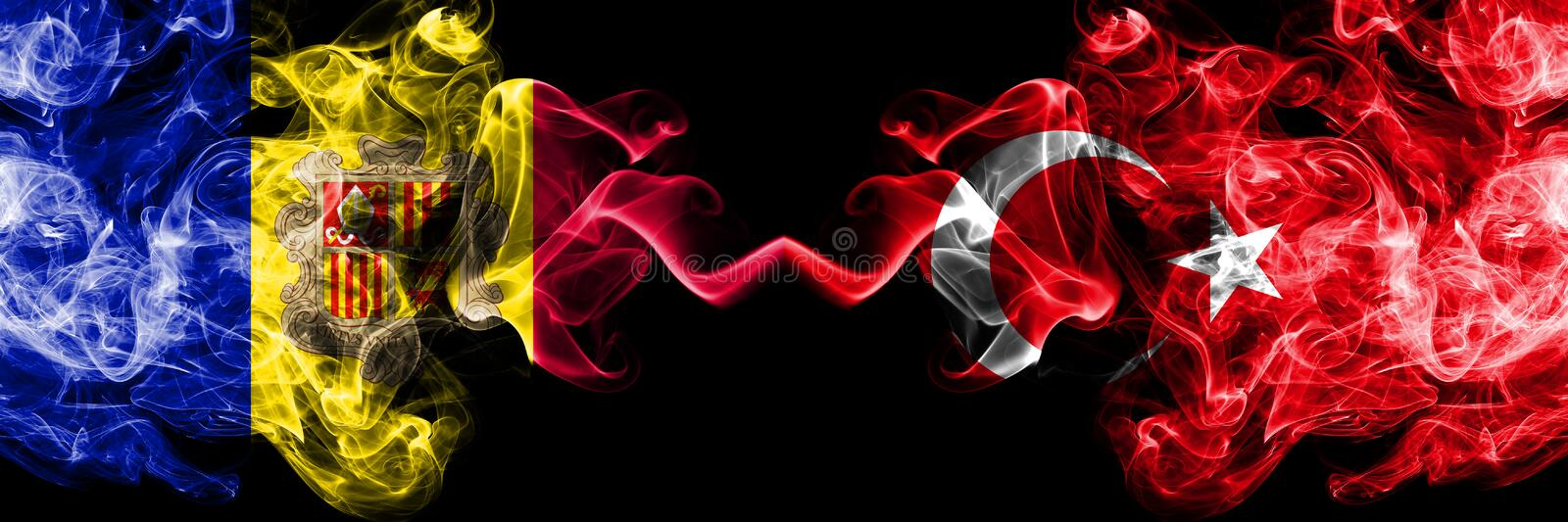 Andorra, Andorran, Turkey, Turkish competition thick colorful smoky flags. European football qualifications games.  stock images