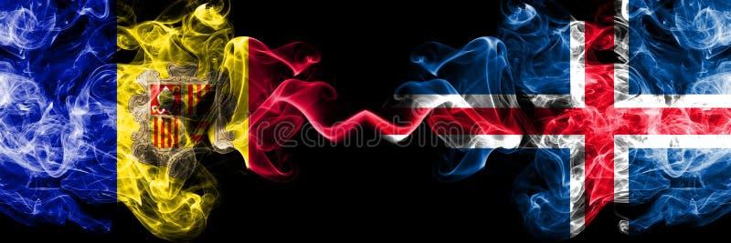 Andorra, Andorraner, Island, isl?ndisch, starke bunte rauchige Flaggen des Wettbewerbs des leichten Schlages Europ?ische Fu?ballq vektor abbildung