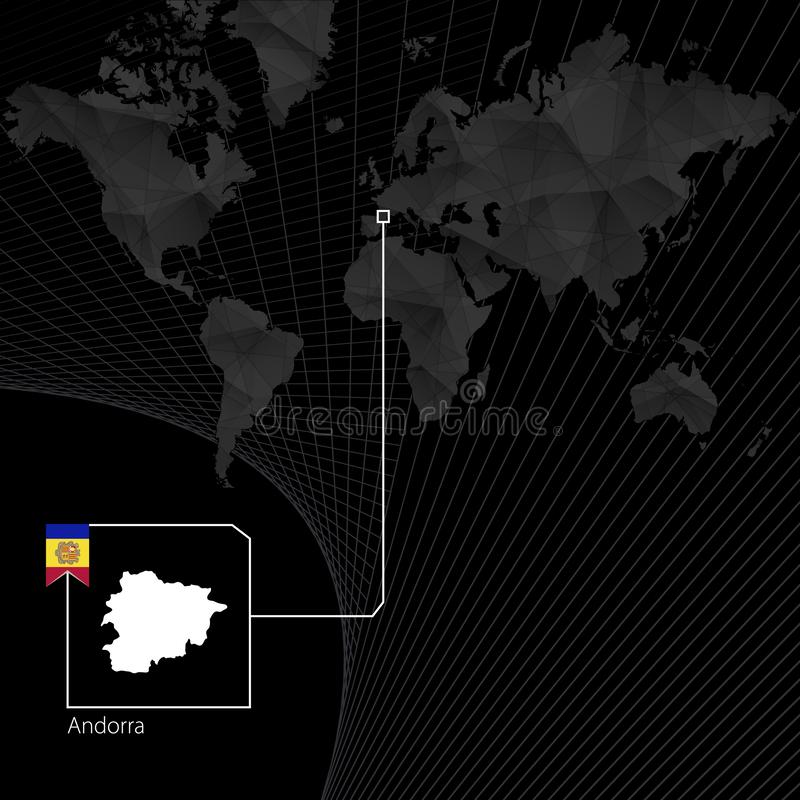 Andorra on black World Map. Map and flag of Andorra.  vector illustration