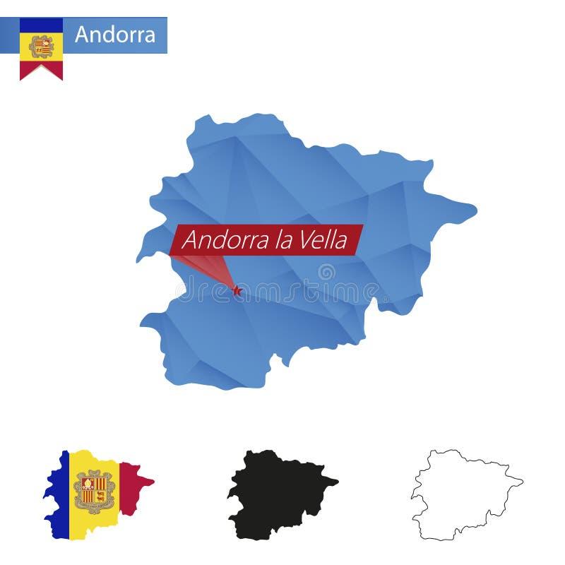 Andorra blue Low Poly map with capital Andorra la Vella royalty free illustration