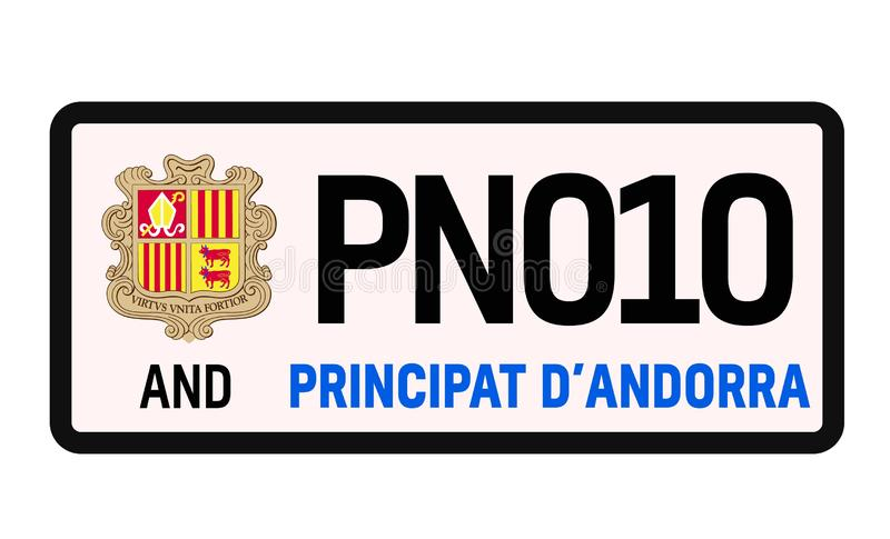Andorra car plate design. On white background. Simple colours illustration stock illustration