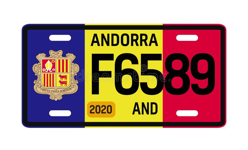 Andorra car plate design. On white background. Simple colours illustration royalty free illustration