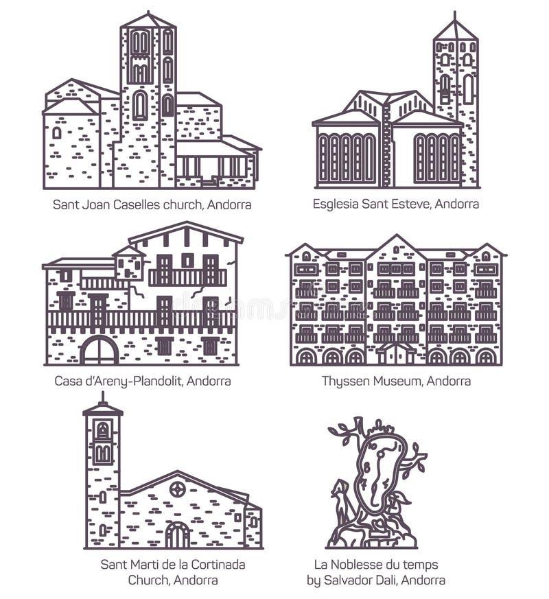 Andorra castle landscape and church landmark set. Set of isolated Andorra castle building. Saint Joan Caselles church in thin line, Esglesia Sant Esteve stock illustration