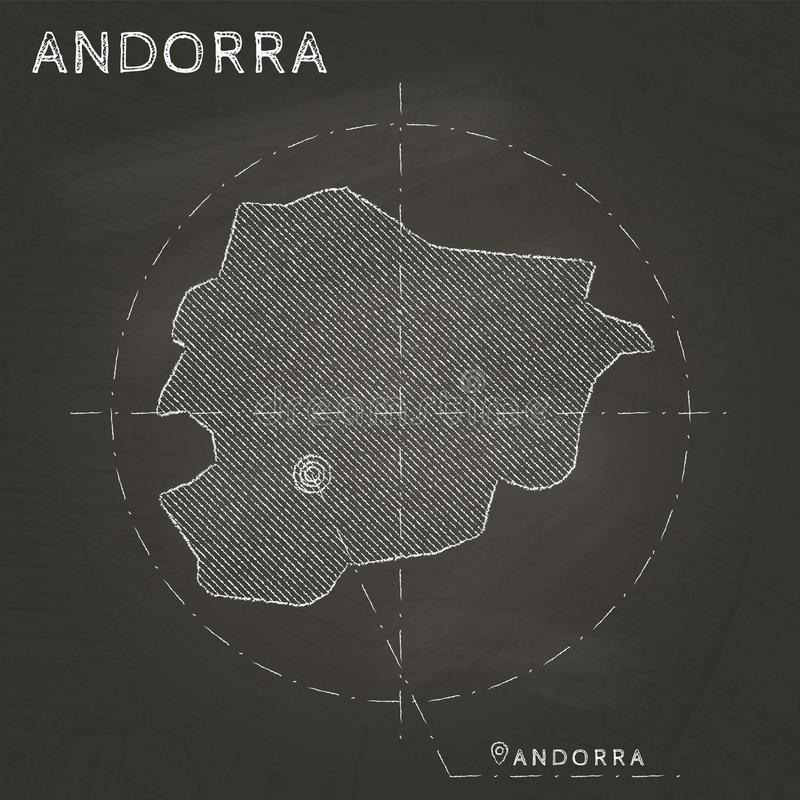 Andorra chalk map with capital marked hand drawn. royalty free illustration