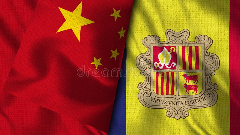 Andorra and China Flag - 3D illustration Two Flag royalty free illustration