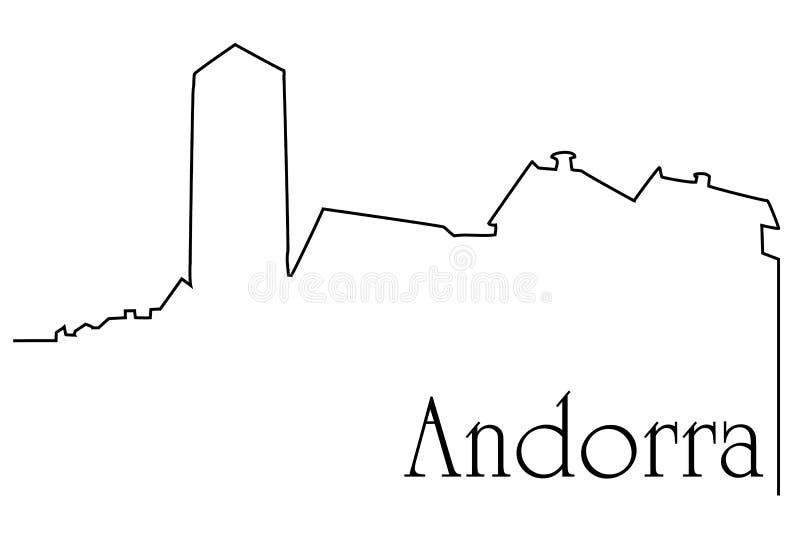 Andorra capital city. Andorra city one line drawing background stock illustration