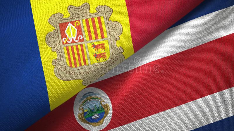 Andorra and Costa Rica two flags textile cloth, fabric texture. Andorra and Costa Rica flags together textile cloth, fabric texture stock illustration