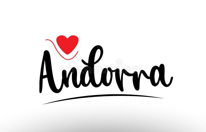 Andorra country text typography logo icon design. Andorra country text with red love heart suitable for a logo icon or typography design royalty free illustration