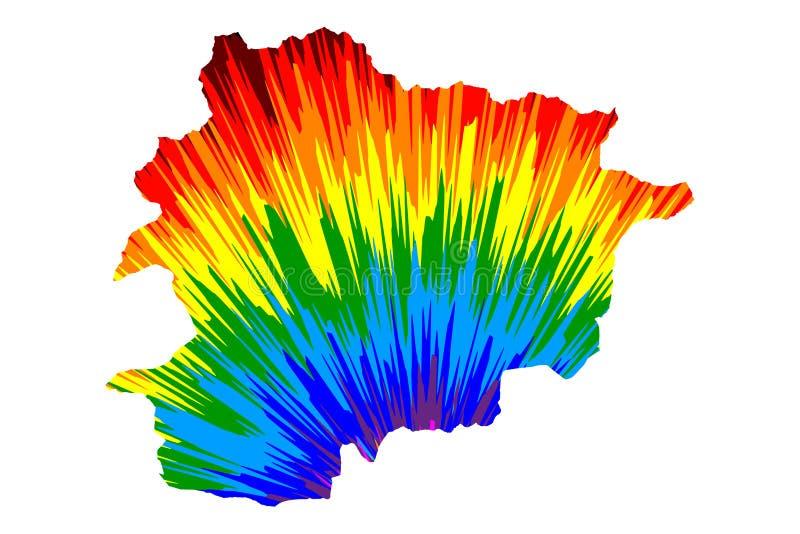 Andorra - de kaart is ontworpen regenboog abstract kleurrijk patroon royalty-vrije illustratie