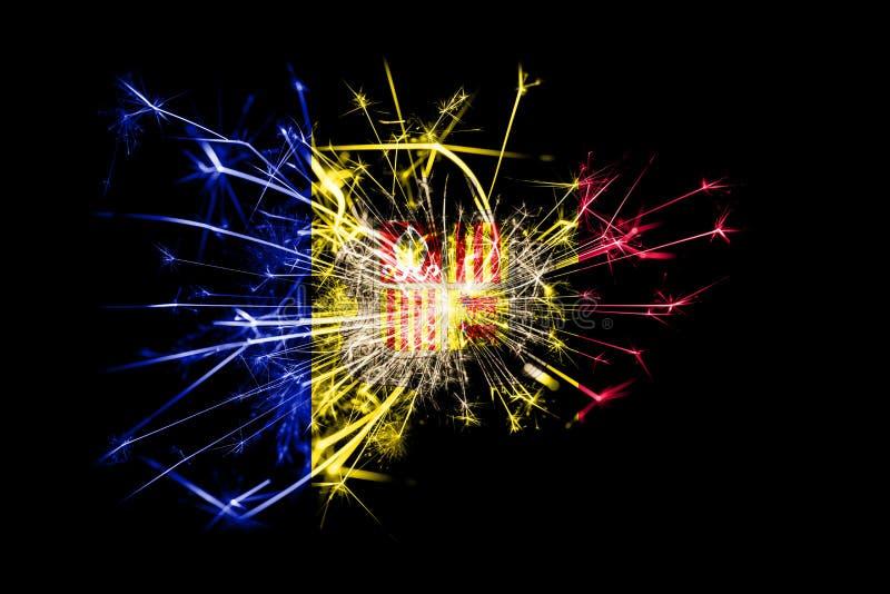 Andorra fireworks sparkling flag. New Year 2019 and Christmas party concept. Andorra fireworks sparkling flag. New Year 2019 and Christmas party concept vector illustration
