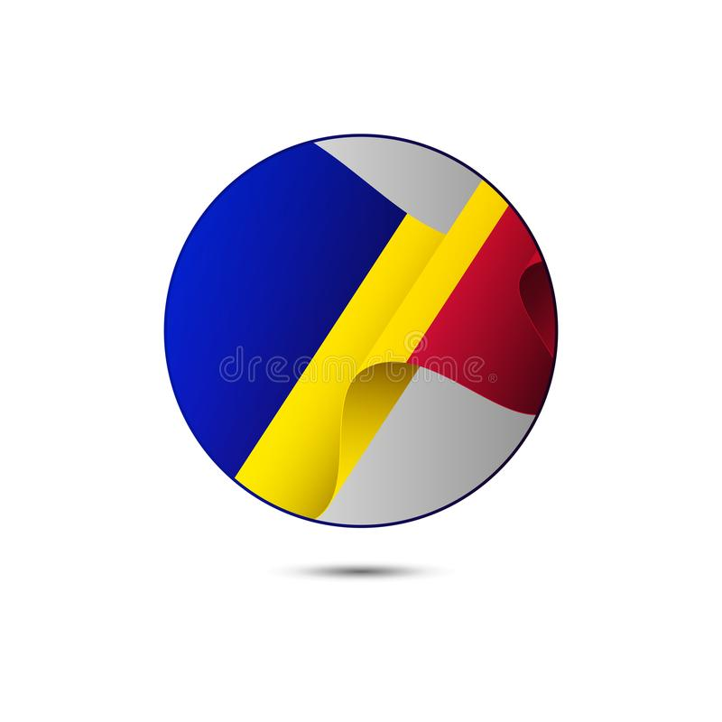 Andorra flag button with shadow on a white background. Vector illustration. Andorra flag button with shadow on a white background. Waving flag stock illustration