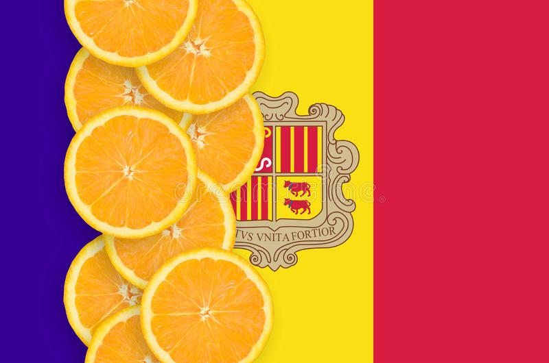 Andorra flag and citrus fruit slices vertical row vector illustration