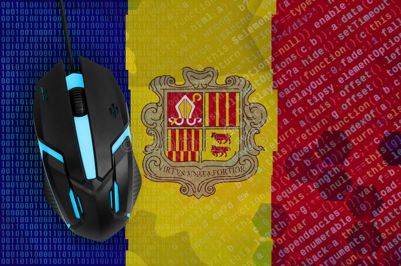 Andorra flag and computer mouse. Digital threat, illegal actions on the Internet royalty free illustration
