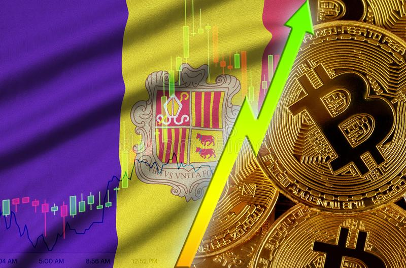 Andorra flag and cryptocurrency growing trend with many golden bitcoins. Andorra flag  and cryptocurrency growing trend with many golden bitcoins. Concept of royalty free illustration