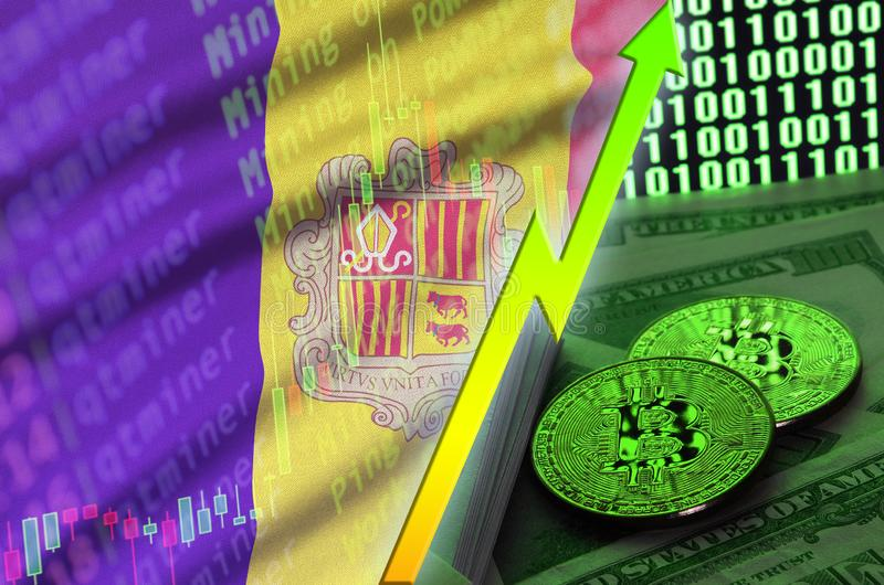 Andorra flag and cryptocurrency growing trend with two bitcoins on dollar bills and binary code display. Concept of raising Bitcoin in price and high royalty free illustration