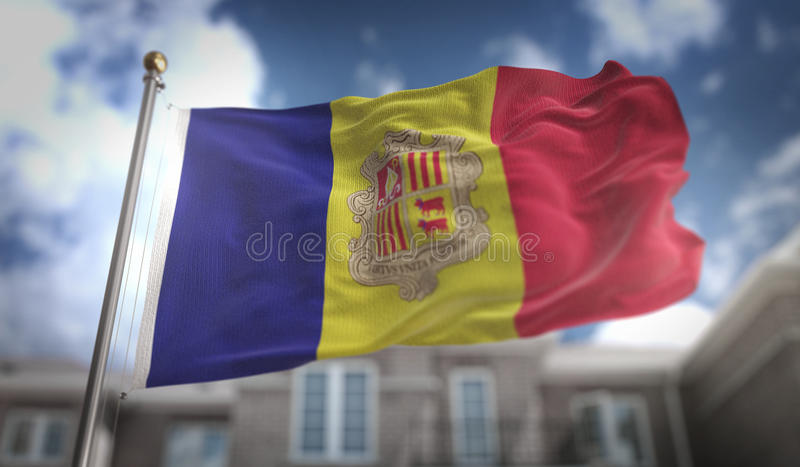 Andorra Flag 3D Rendering on Blue Sky Building Background. Digital Art stock image