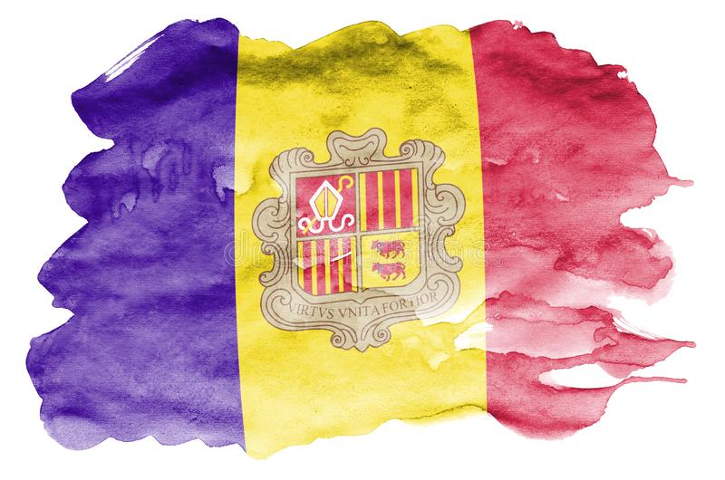 Andorra flag is depicted in liquid watercolor style isolated on white background royalty free illustration