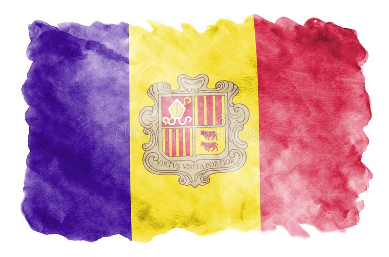Andorra flag is depicted in liquid watercolor style isolated on white background stock illustration