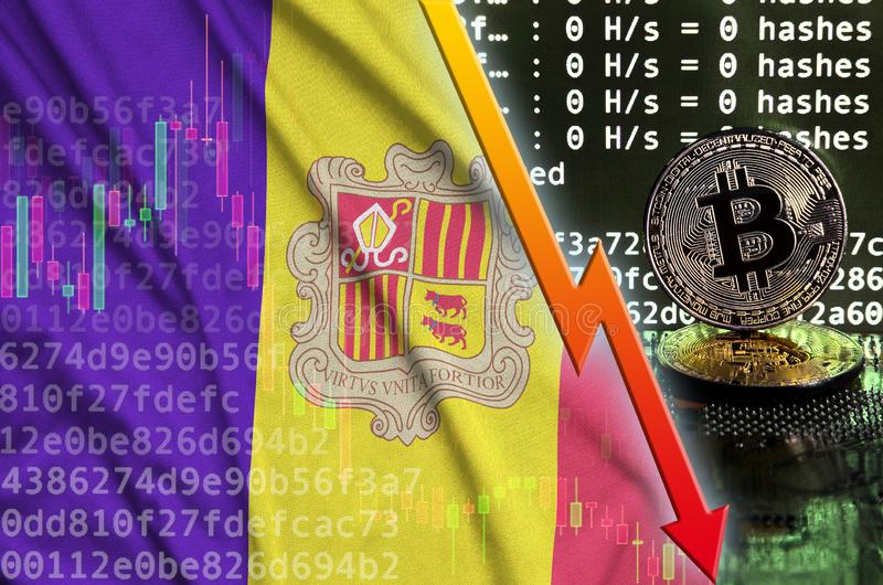 Andorra flag and falling red arrow on bitcoin mining screen and two physical golden bitcoins stock illustration