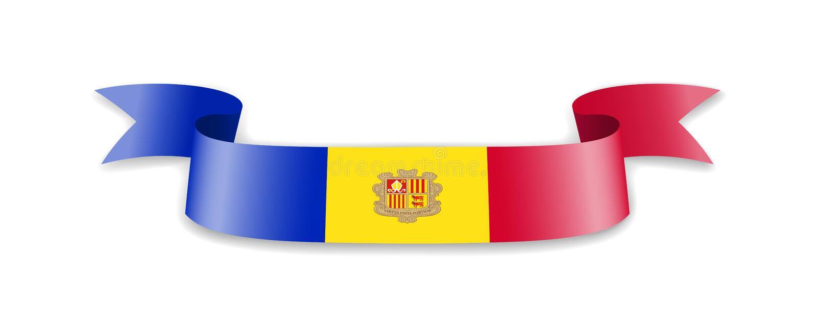 Andorra flag in the form of wave ribbon. Vector illustration vector illustration