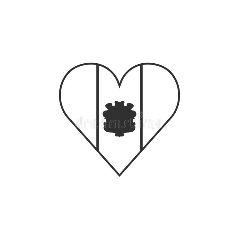 Andorra flag icon in a heart shape in black outline flat design. Independence day or National day holiday concept royalty free illustration