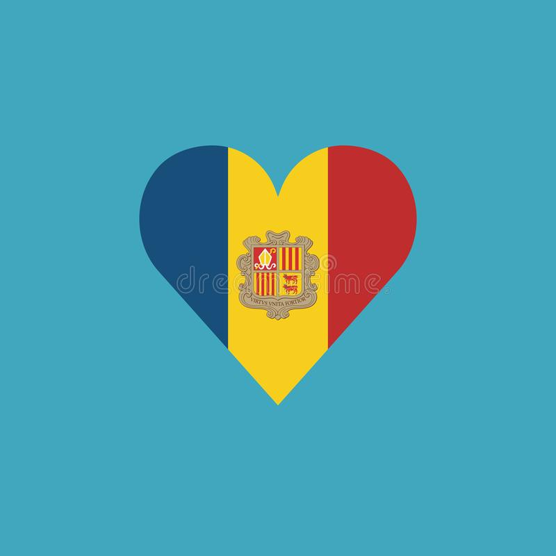 Andorra flag icon in a heart shape in flat design. Independence day or National day holiday concept vector illustration