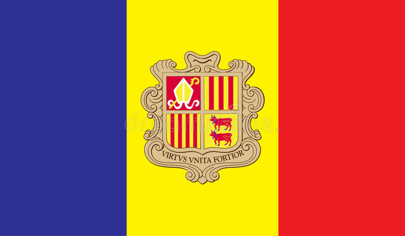 Andorra flag image. For any design in simple style stock illustration