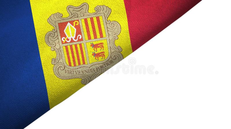 Andorra flag left side with blank copy space. Andorra flag isolated on white background placed on the left side with blank copy space vector illustration
