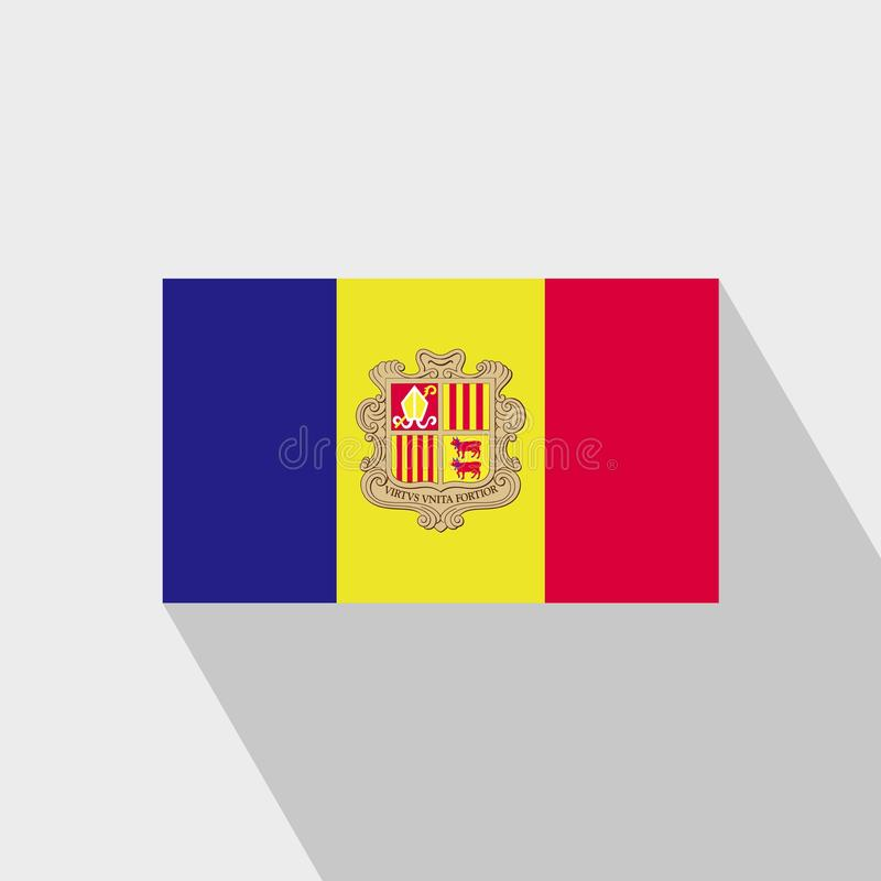 Andorra flag Long Shadow design vector. This Vector EPS 10 illustration is best for print media, web design, application design user interface and royalty free illustration
