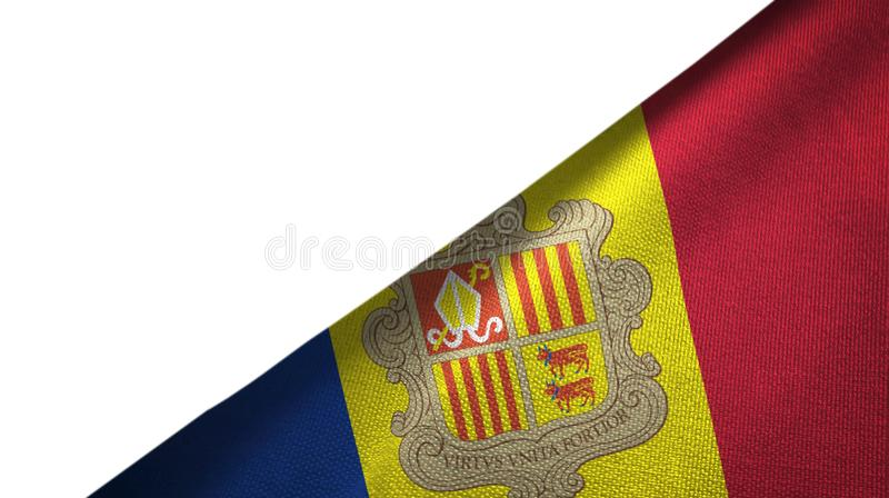 Andorra flag right side with blank copy space. Andorra flag isolated on white background placed on the right side with blank copy space stock illustration