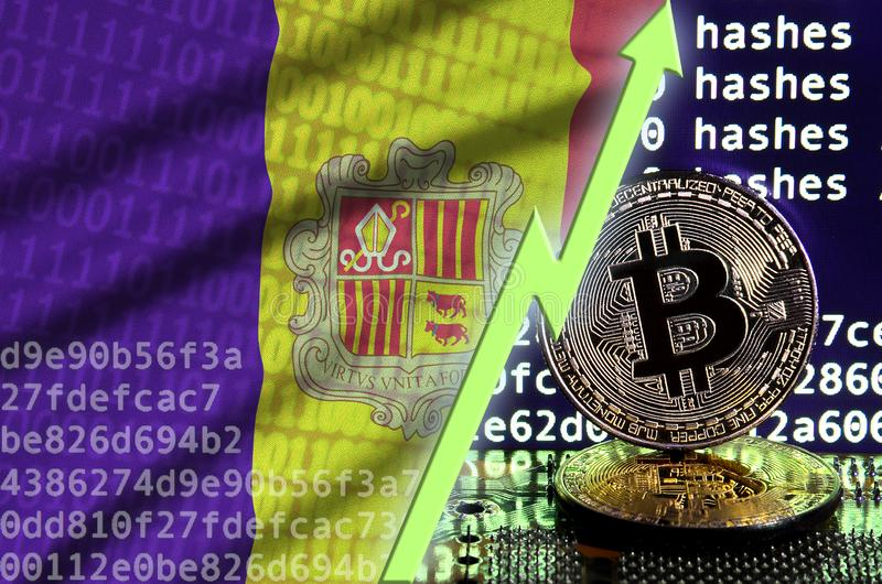 Andorra flag and rising green arrow on bitcoin mining screen and two physical golden bitcoins vector illustration