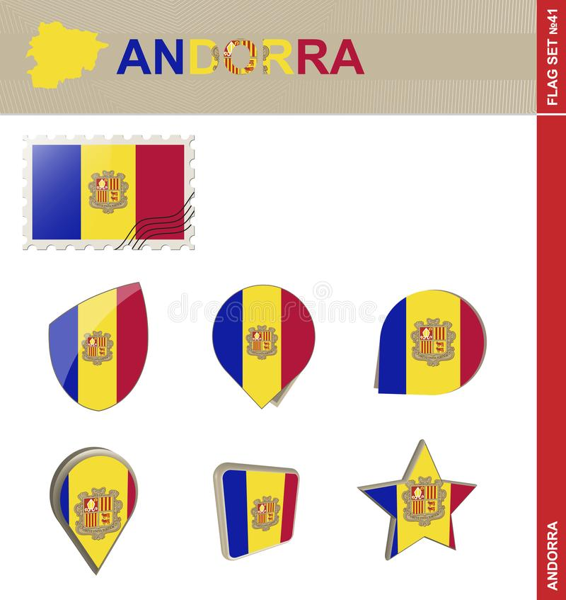 Andorra Flag Set, Flag Set #41. Vector vector illustration