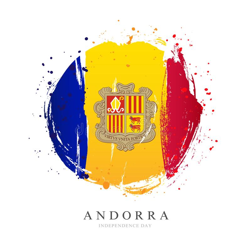 Andorra flag in the shape of a big circle. Vector illustration on a white background. Brush strokes are drawn by hand. Independence Day vector illustration