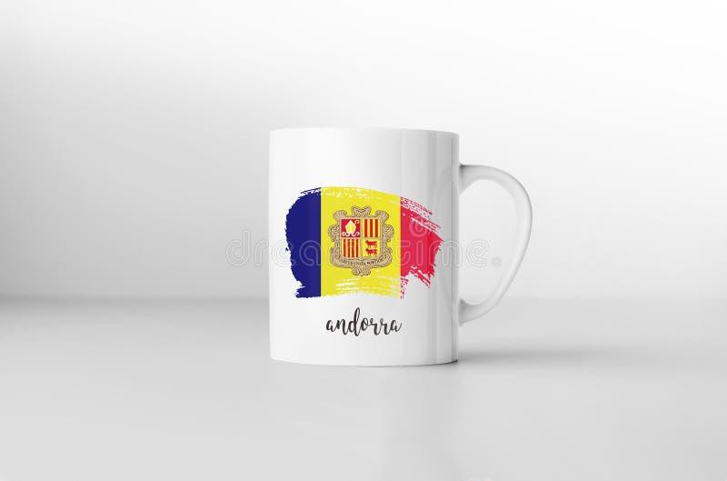 Andorra flag on white coffee mug. Andorra flag souvenir mug on white background. 3D rendering stock illustration
