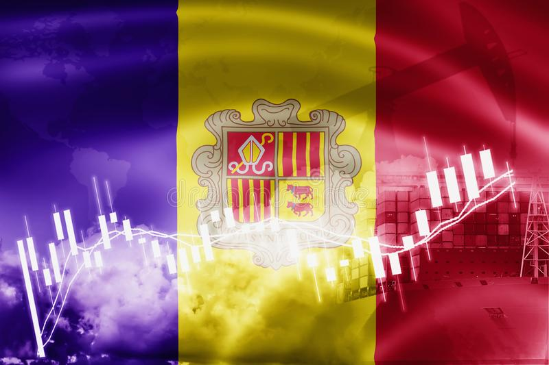 andorra flag, stock market, exchange economy and Trade, oil production, container ship in export and import business and logistics vector illustration