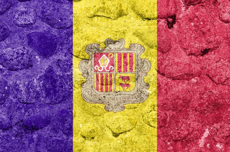 Andorra Flag on a stone wall.  stock illustration