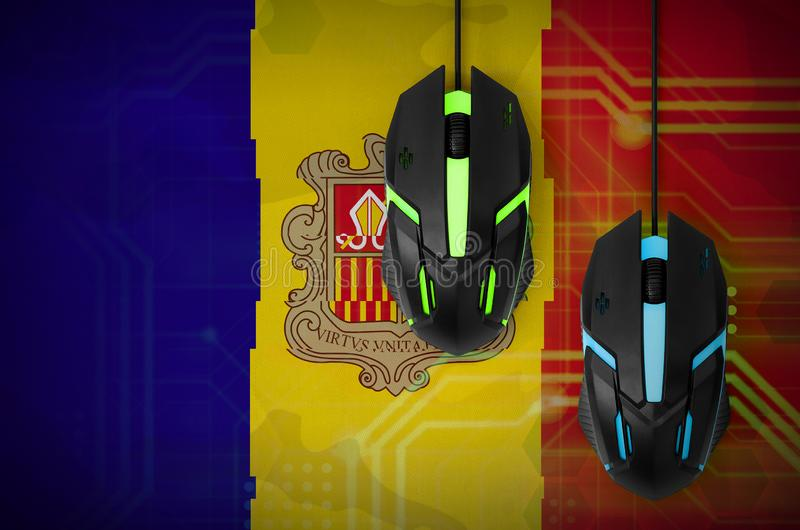 Andorra flag and two mice with backlight. Online cooperative games. Cyber sport team royalty free illustration
