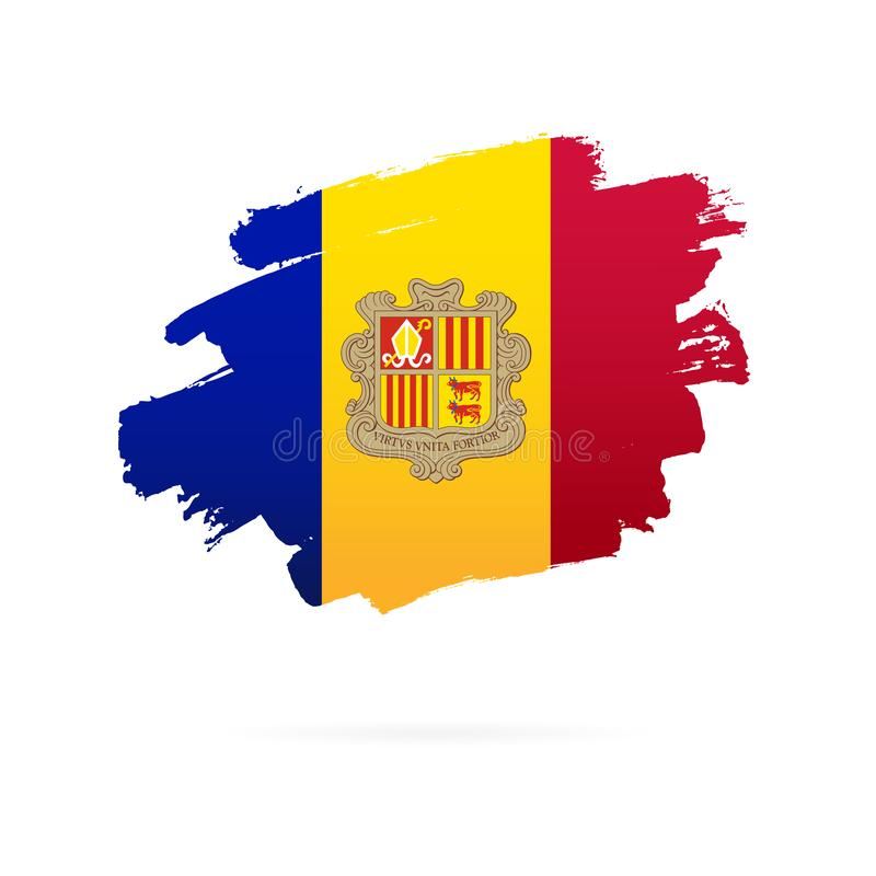 Andorra flag. Vector illustration on a white background. Brush strokes are drawn by hand. Andorra Independence Day stock illustration