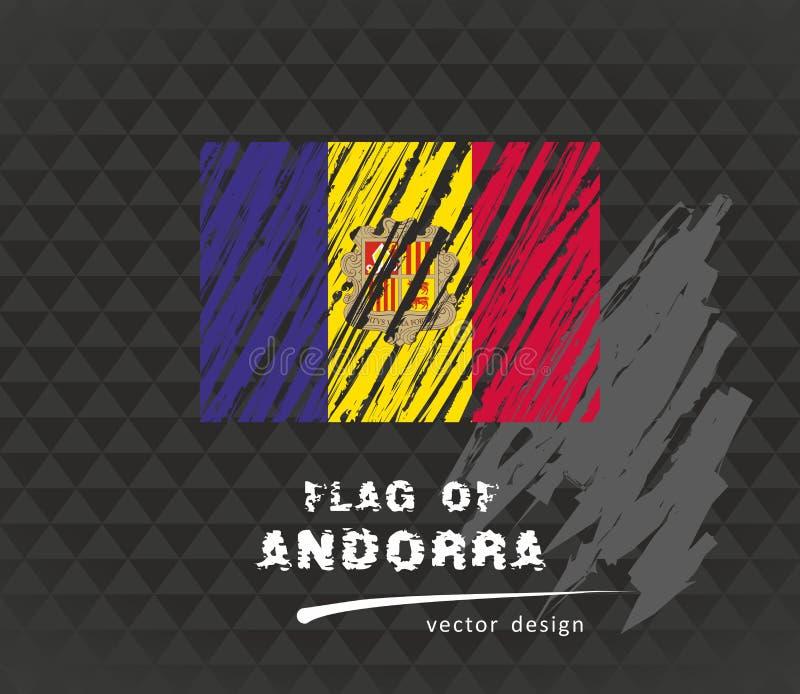 Andorra flag, vector sketch hand drawn illustration on dark grunge background. Vector sketch map of Andorra with flag, hand drawn chalk illustration. Grunge stock illustration