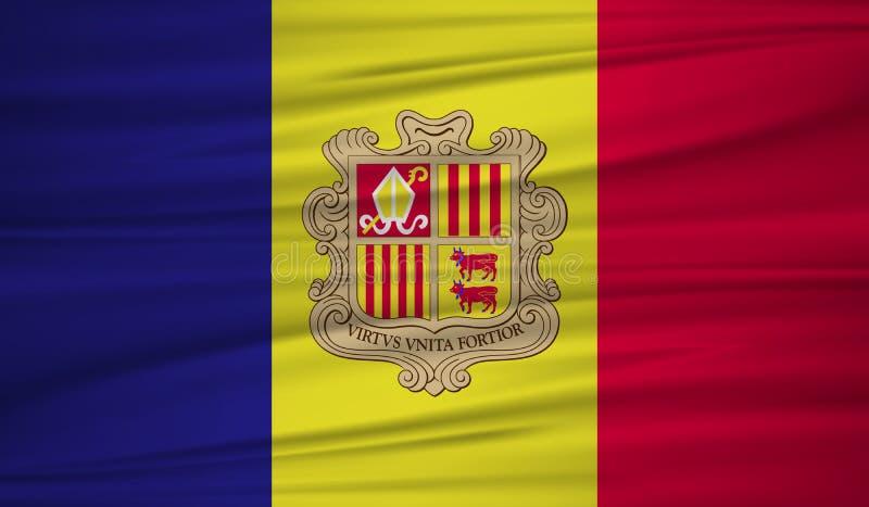 Andorra flag vector. Vector andorra flag blowig in the wind. EPS 10 vector illustration